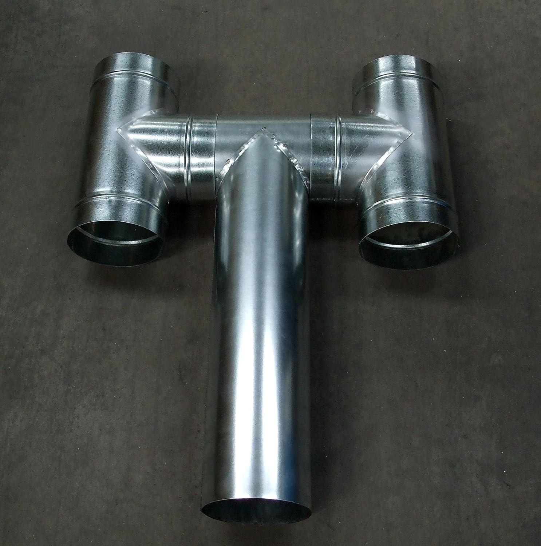 Schornsteinkopf 125 mm Abzugsrohr Dachhaube Leitungssystem aus verzinktem Stahl