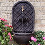 sunnydaze messina outdoor wall fountain with electric submersible pump 26inch iron finish