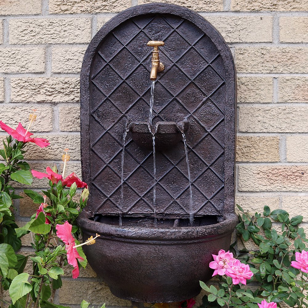 Sunnydaze Messina Outdoor Wall Fountain, with Electric Submersible Pump 26-Inch, Iron Finish