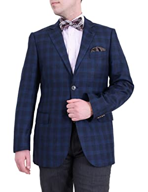 Zanetti Regular Fit Navy Blue Plaid Two Button Wool Blazer Sportcoat