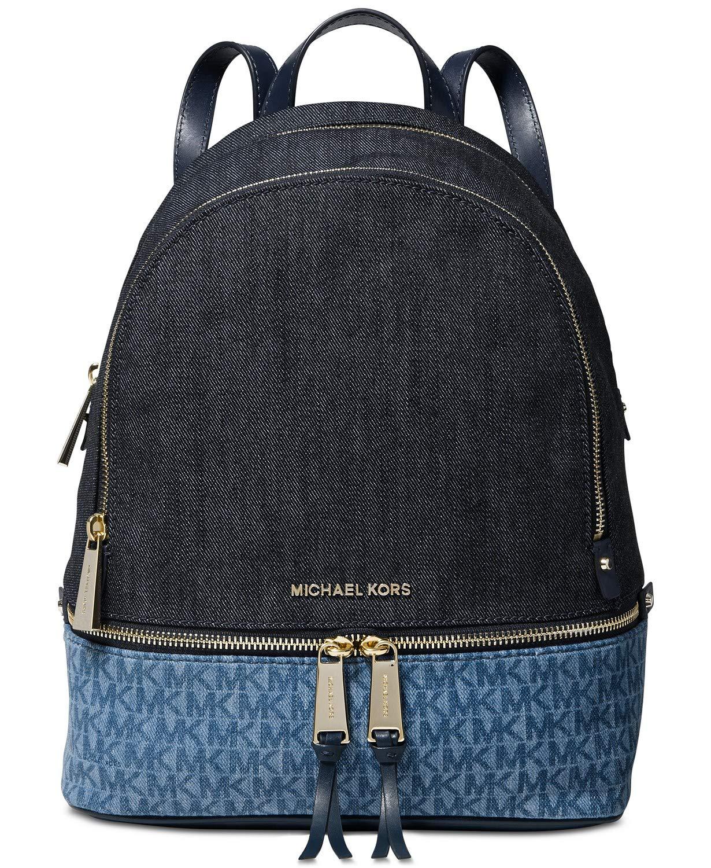 18c9879be227 Amazon.com | MICHAEL Michael Kors Rhea Zip Medium Backpack (Signature  Denim) | Casual Daypacks
