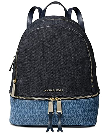 ef2c434514d0 Amazon.com   MICHAEL Michael Kors Rhea Zip Medium Backpack (Signature  Denim)   Casual Daypacks