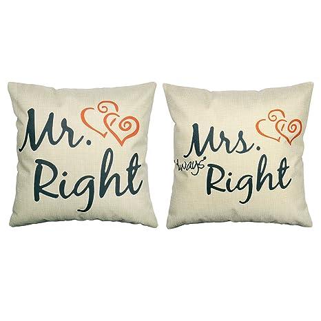 Cuscini Mr Right Mrs Always Right.Luxbon Set Di 2 Mr Right Mrs Always Right Cuore Federe Per Cuscino