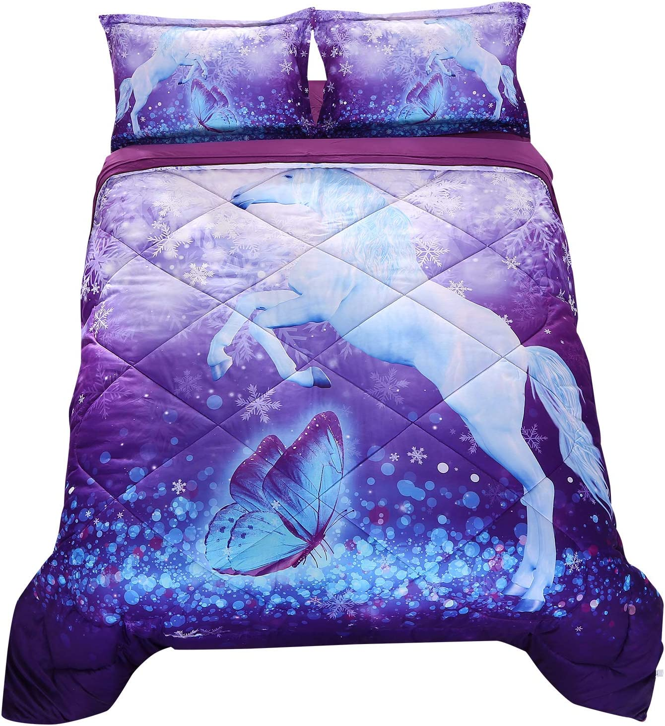 Wowelife Unicorn Comforter Sets Queen 3D Purple Butterfly Bedding Sets 5 Pieces with Comforter, Flat Sheet, Fitted Sheet and 2 Pillow Cases(Queen-5 Piece)