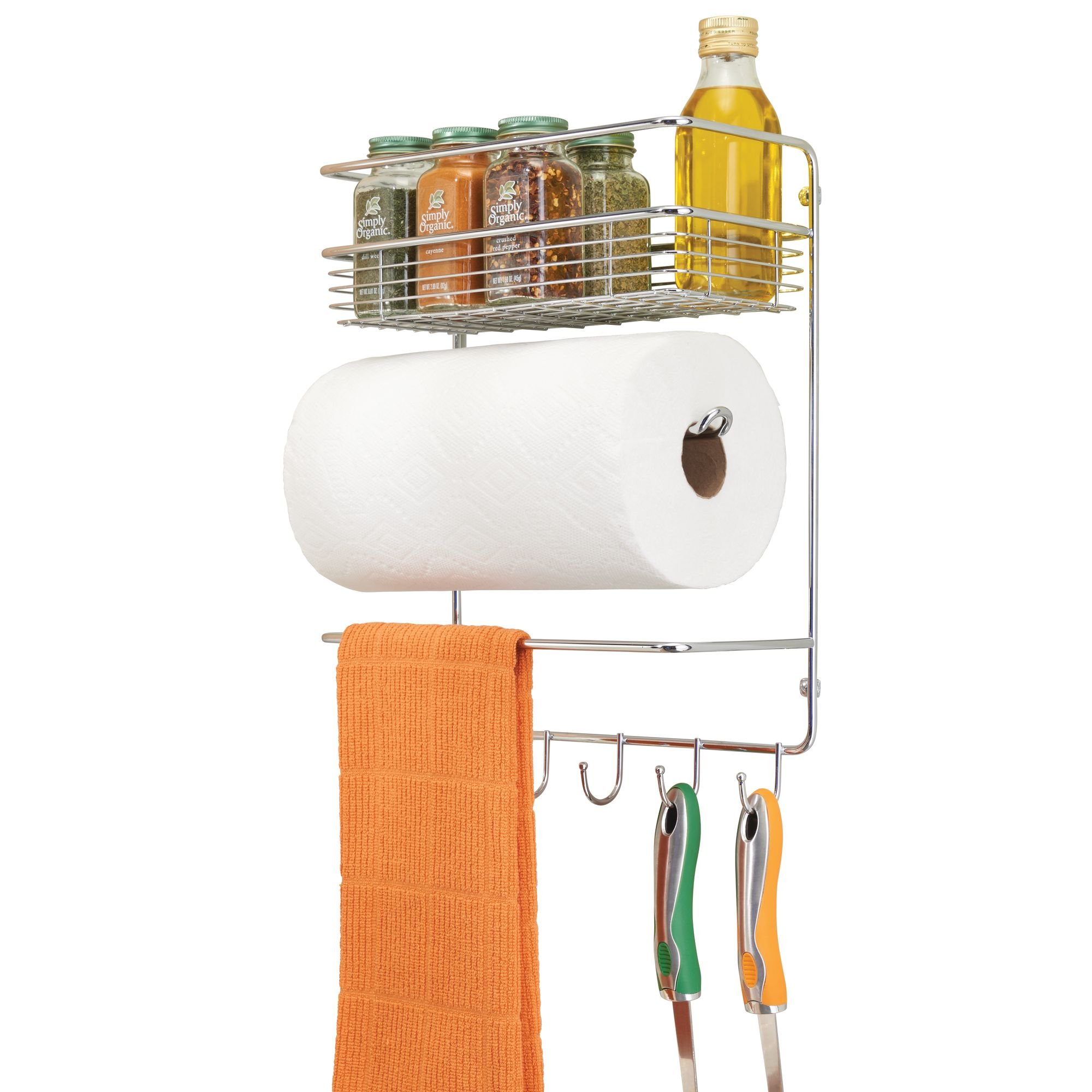mDesign Wall Mount Paper Towel Holder with Storage Shelf and Storage Hooks for Kitchen, Pantry, Laundry, Garage Organization - Strong Steel Wire with Chrome Finish