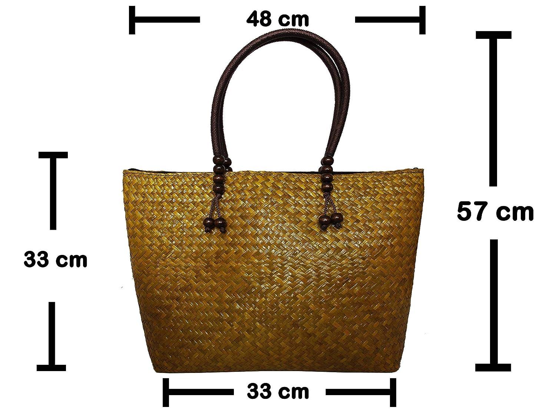 Rotfuchs damväska handväska strå väska shoppingväska strandväska handgjord av skylt Grün Gelb 10-5
