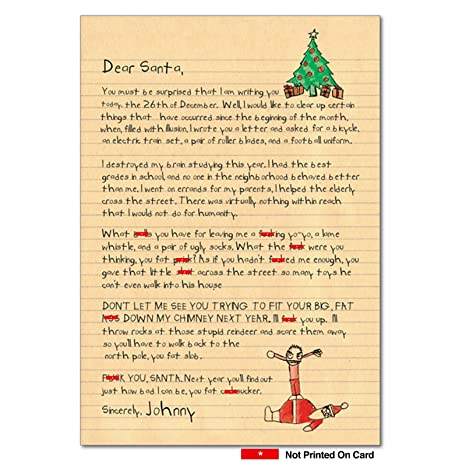 Christmas Greetings Letter.Dear Santa Adult Humor Merry Christmas Card With Envelope 4 X 5 12 Inch Funny Kids Letter Profanity Season S Greetings Card For Adults Men