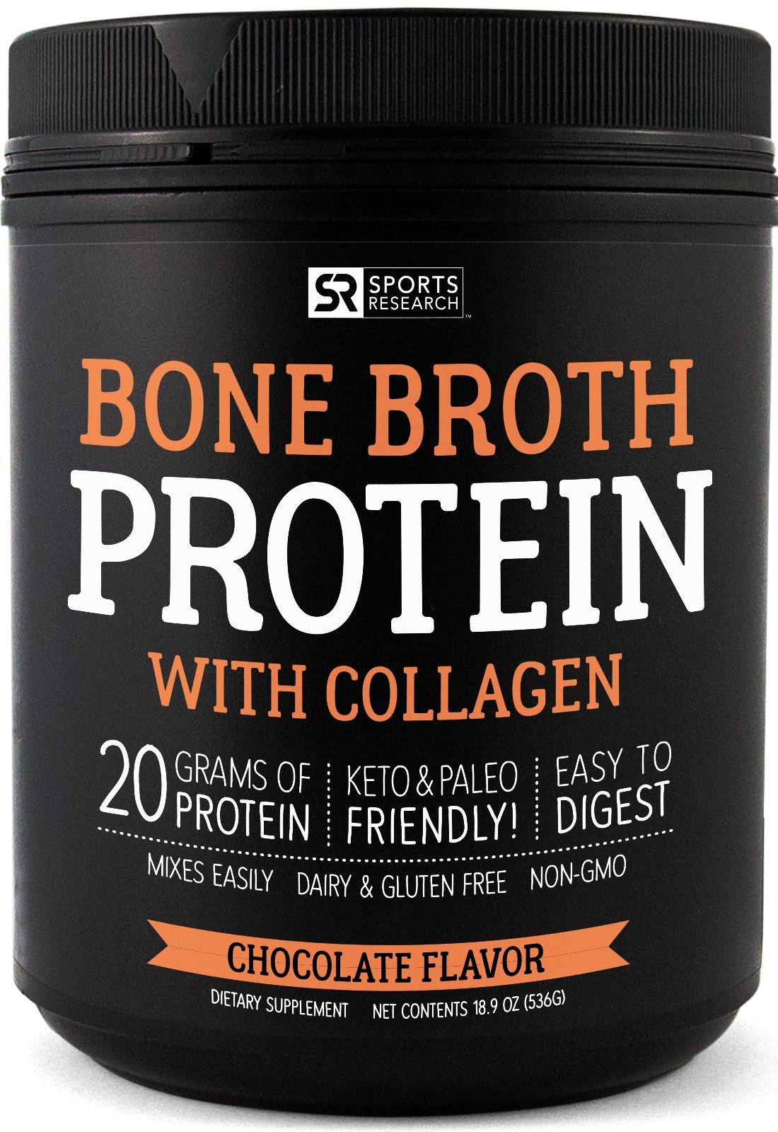 Bone Broth Protein with Collagen (Chocolate Flavor) ~ Paleo & Keto Diet Approved ~ for Healthy Skin, Joints & Muscles ~ Gluten, GMO & Dairy Free by Sports Research