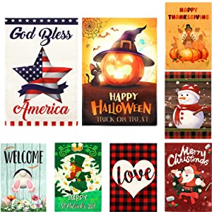 8 Pack Seasonal Garden Flags 12x18 Double Sided, Patriotic Garden Flag Set with Anti-Wind Clip, Welcome Summer Garden Flags for Outside 4th of July Memorial Day Independence Outdoor Holiday Yard Flags
