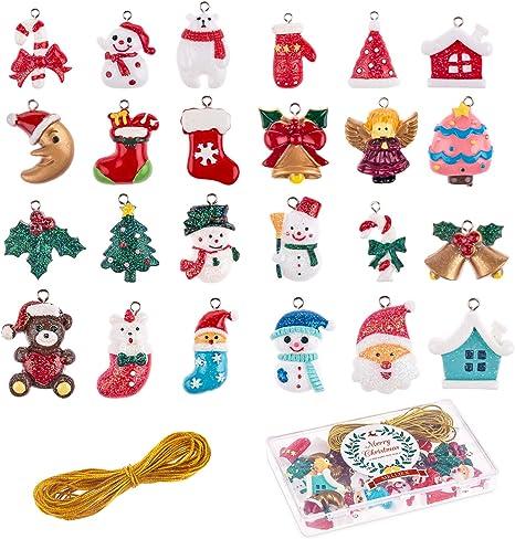 Melliex 24 Stück Weihnachten Miniatur Anhänger Christbaumschmuck Harz Ornamente Diy Weihnachtsschmuck Für Christbaum Adventskalender Puppenhaus Dekoration Küche Haushalt