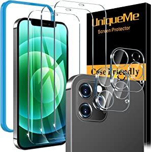 [5 Pack] UniqueMe Screen Protector Compatible for iPhone 12 Pro Max 6.7 [Not for iPhone 12 Pro], 3 Pack Clear Tempered Glass and 2 Pack Camera Lens Protector, Double Protection, [Installation Frame]