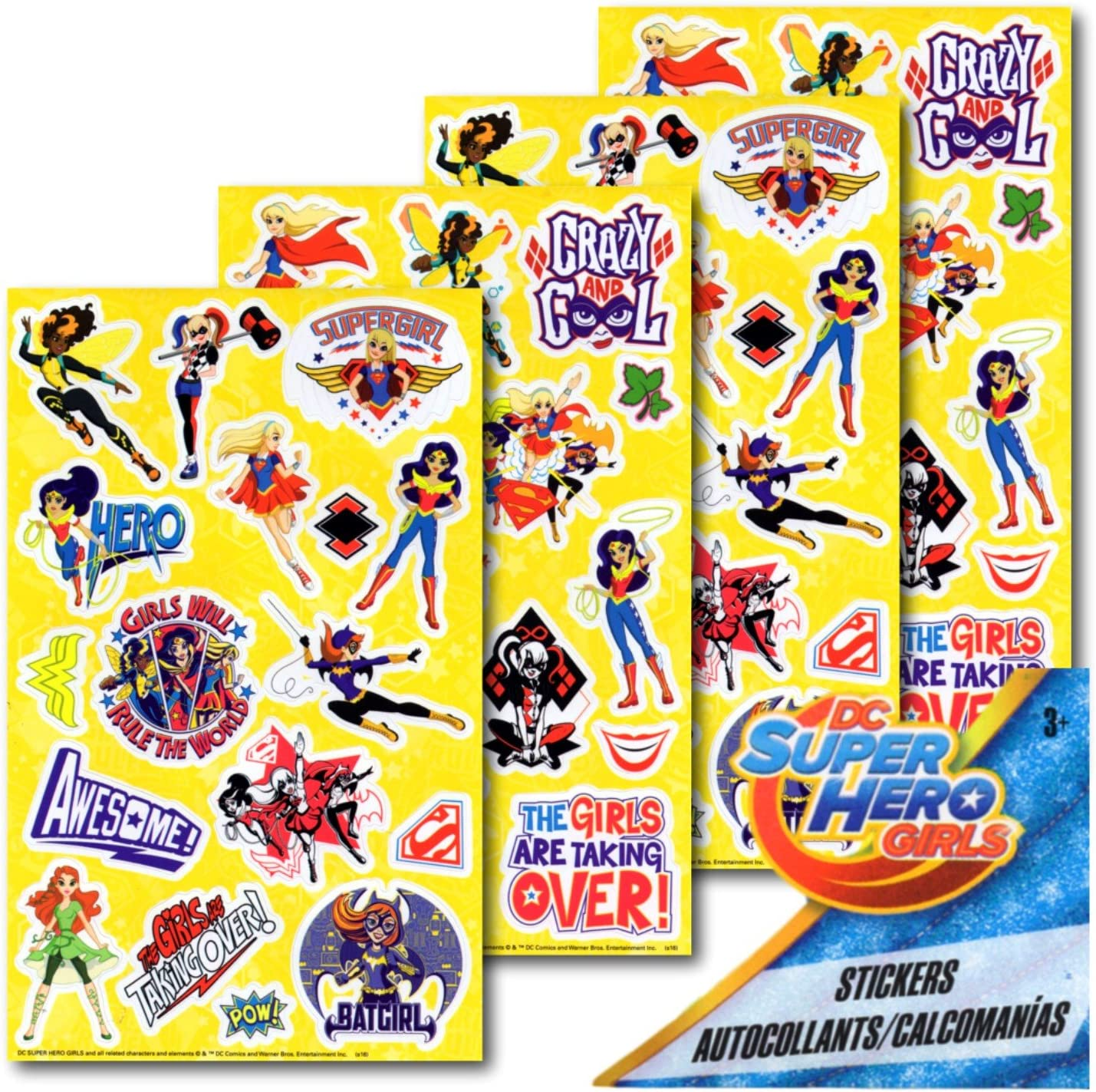 8 Sheets of Superhero Girls Stickers Featuring Wonder Woman Superhero Party Supplies Batgirl and More Supergirl DC Super Hero Girls Stickers Party Favors Bundle