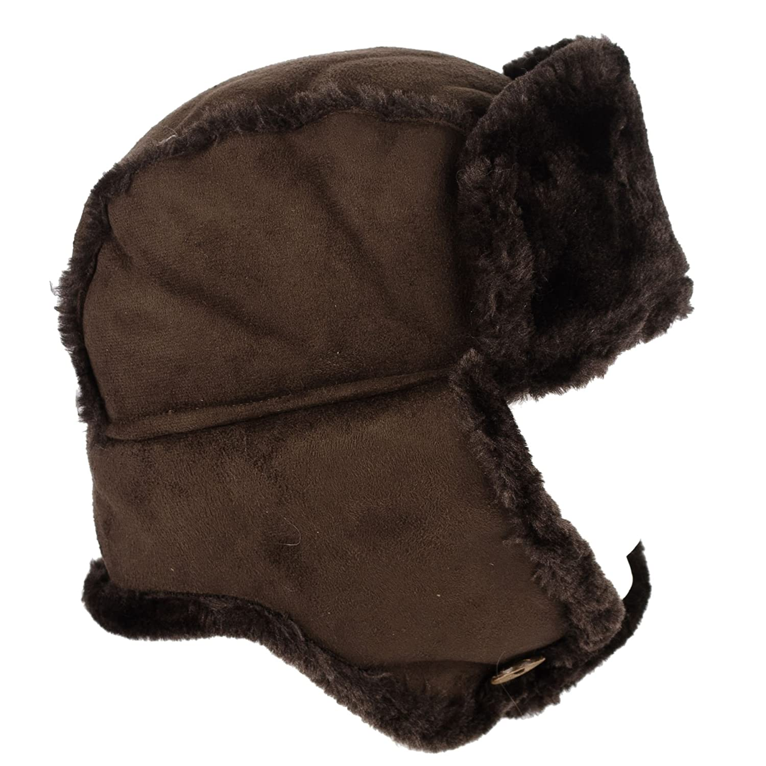 Hat To Socks Ladies Womens Faux Sheepskin/Suede & Fur Trapper Aviator Russian Hat Brown