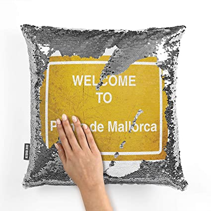 Amazon.com: NEONBLOND Mermaid Pillow Cover Yellow Road Sign ...