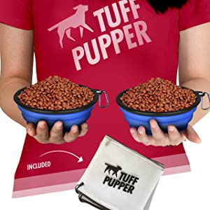 Tuff Pupper Super Big Slurp Collapsible Dog Bowls   Available in 100oz/60oz/40oz Sizes   Convenient Dog Travel Bowl   Keeps Pups Hydrated and Full   Portable Dog Water Bowl & Travel Bowl for Pets
