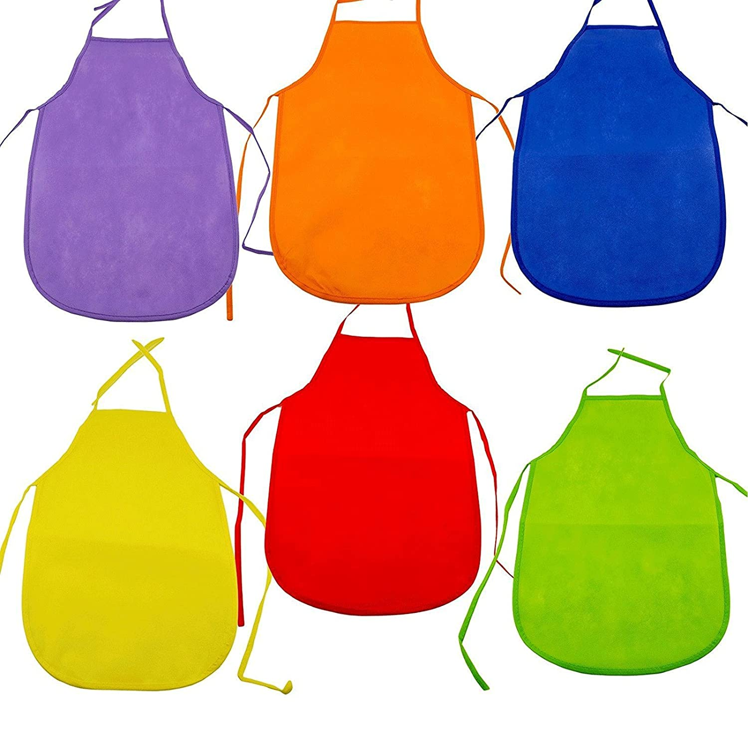 Adorox 12 Pack Assorted Children's Multicolored Aprons smock Art & Craft Painting Cooking Classroom set of 12 COMINHKPR56526