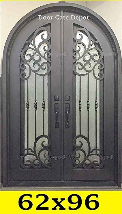 Wrought Iron Front Entry Doors With Tempered Glass 62 X 96