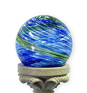 Echo Valley 8140 10-Inch Glow-in-the-Dark Illuminarie Glass Gazing Globe, Light Blue Swirl
