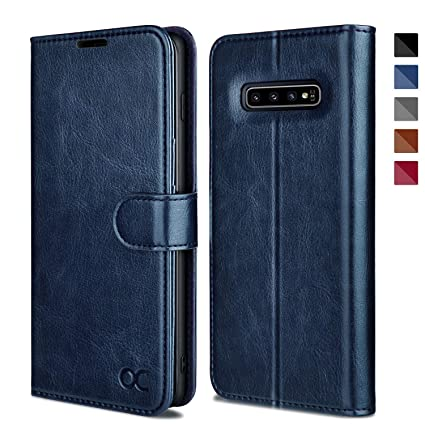 OCASE Samsung Galaxy S10 Case [ Card Slot ] [ Kickstand ] [TPU Shockproof Interior ] Leather Flip Wallet Case for Samsung Galaxy S10 Devices (Blue)