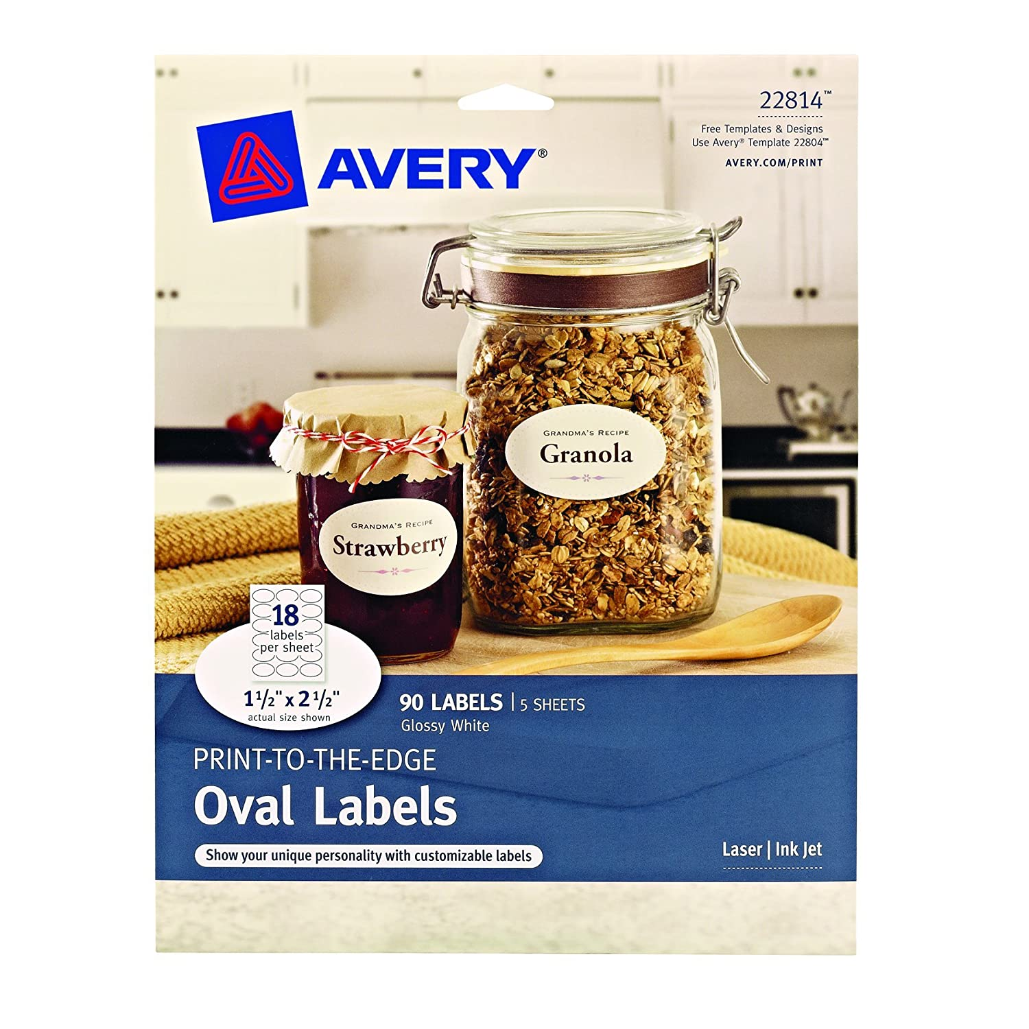 Amazon Avery Print To The Edge Oval Labels Glossy White 15