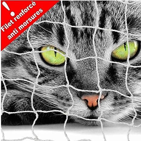 CPF Red de Protección Balcón para Gato 3 x 2 m-Maille Reforzada Anti Morsures