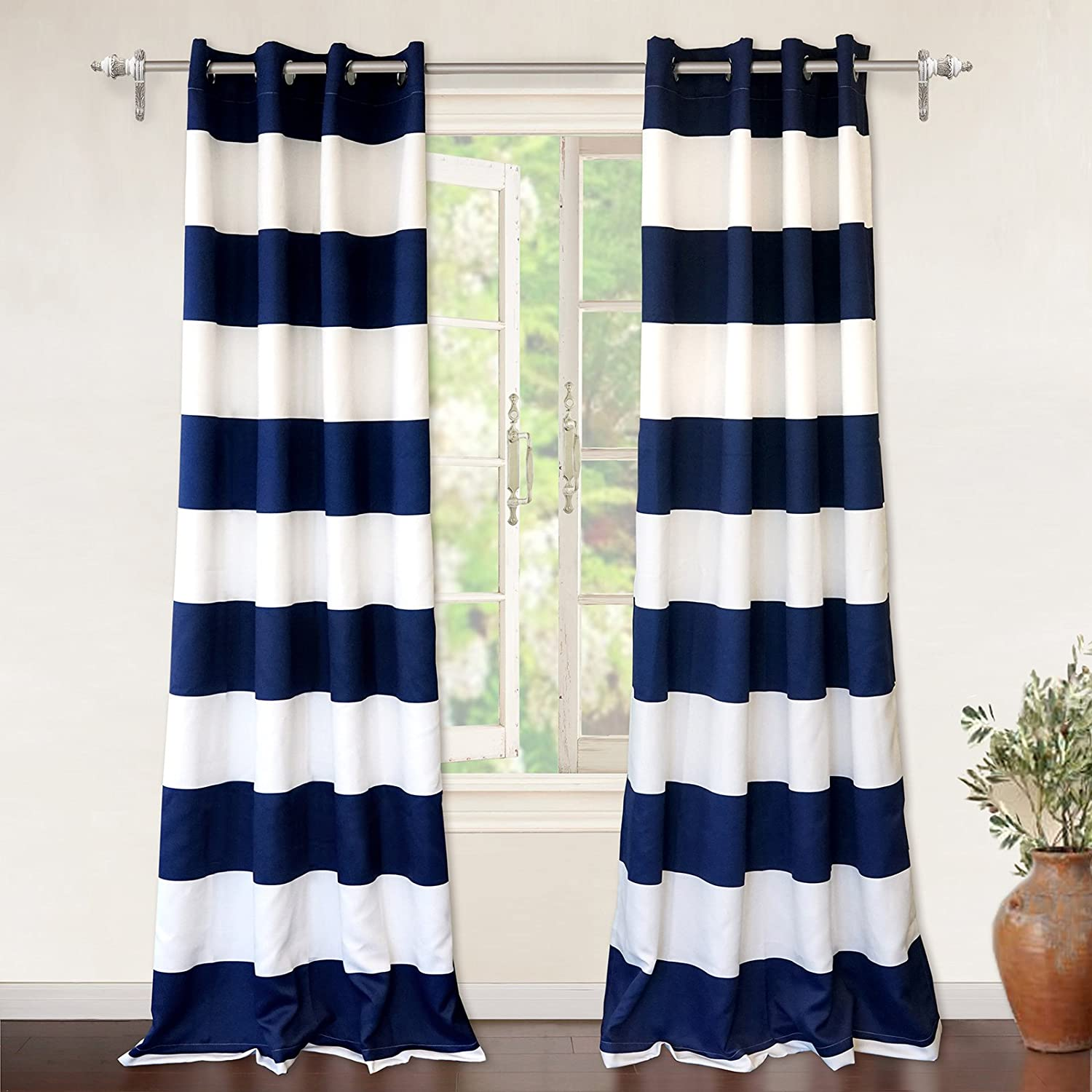 "DriftAway Mia Stripe Room Darkening Grommet Unlined Window Curtains, Set of Two Panels, Each 52""x84 (Navy)"