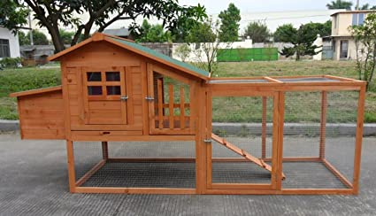 ChickenCoopOutlet Deluxe Large Wood Chicken Coop Backyard Hen House 4 6  Chickens W Nesting Box
