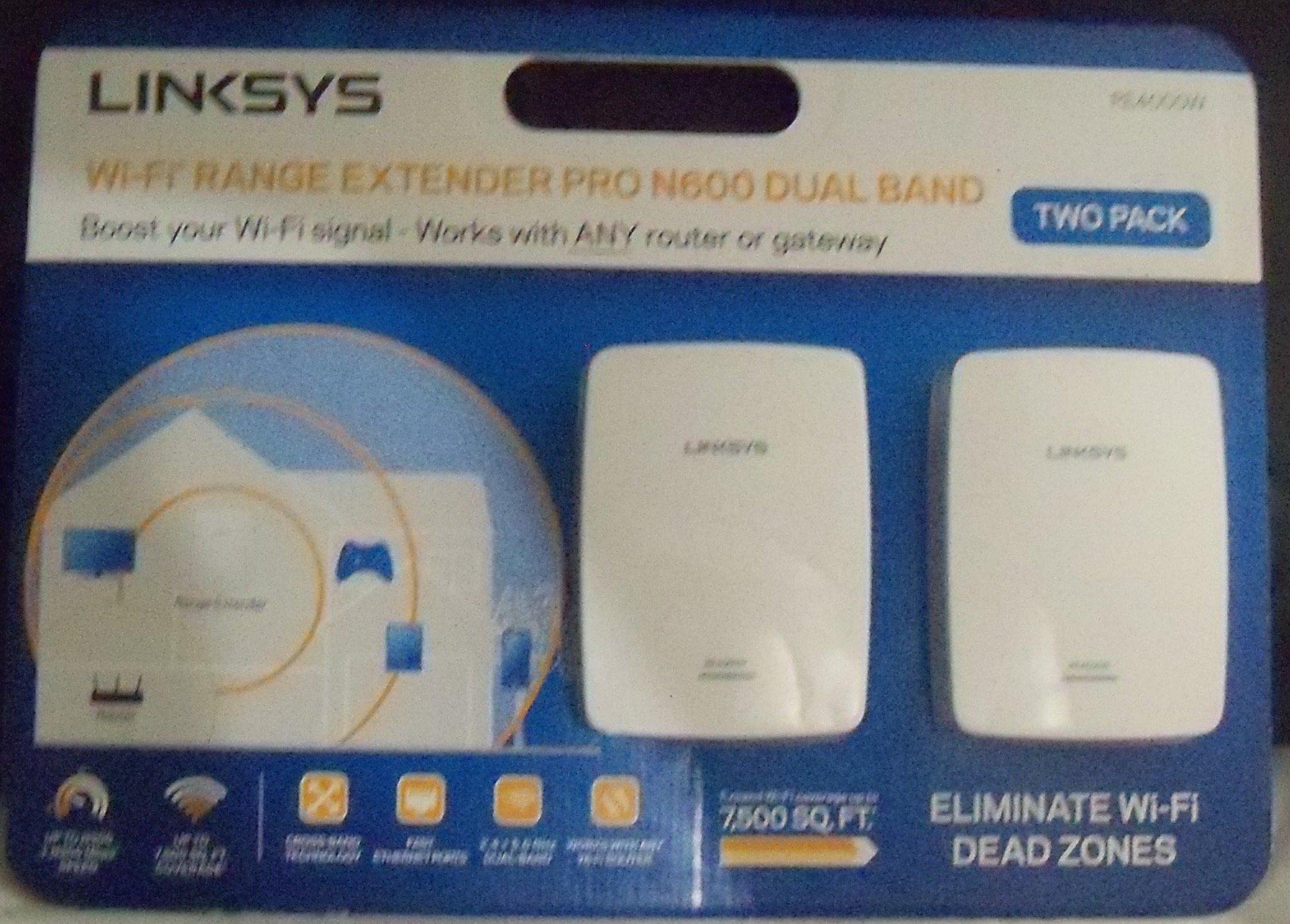 Linksys Wi-Fi Range Extender Pro N600 Dual Band RE4000W White 2-Pac