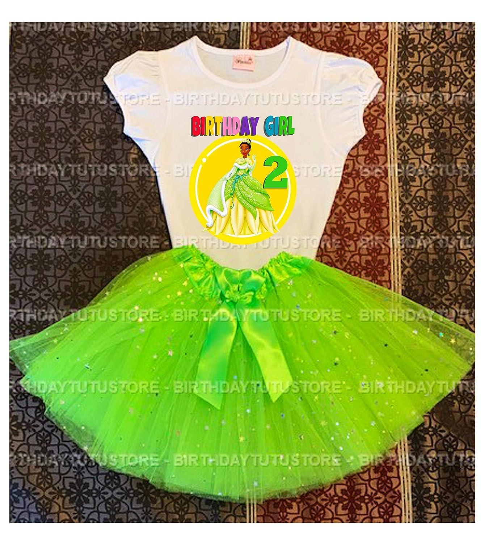 Princess Tiana Birthday Tutu 2nd Birthday Party Dress Green Tutu Outfit Shirt