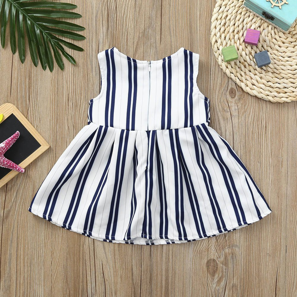 Amazon.com: Kehen Kid Toddler Baby Girl Summer Dress Sleeveless Striped Sundress with Zipper Simple Elegance Party Dress: Clothing