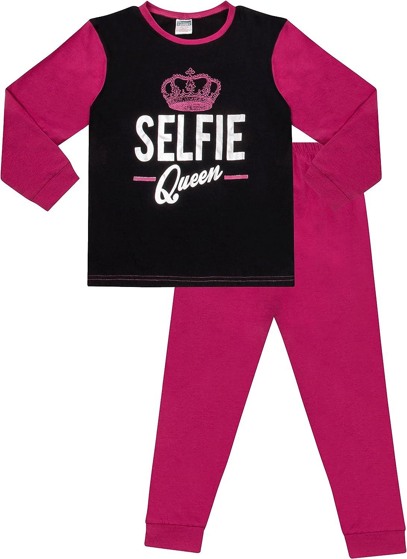 pigiama lungo da bambina e ragazza Selfie Queen rosa e nero