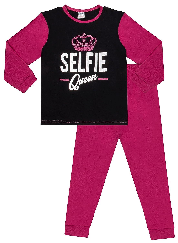 Girl s Selfie Queen lang Schlafanzug 9/bis 16/Jahre Pink Schwarz