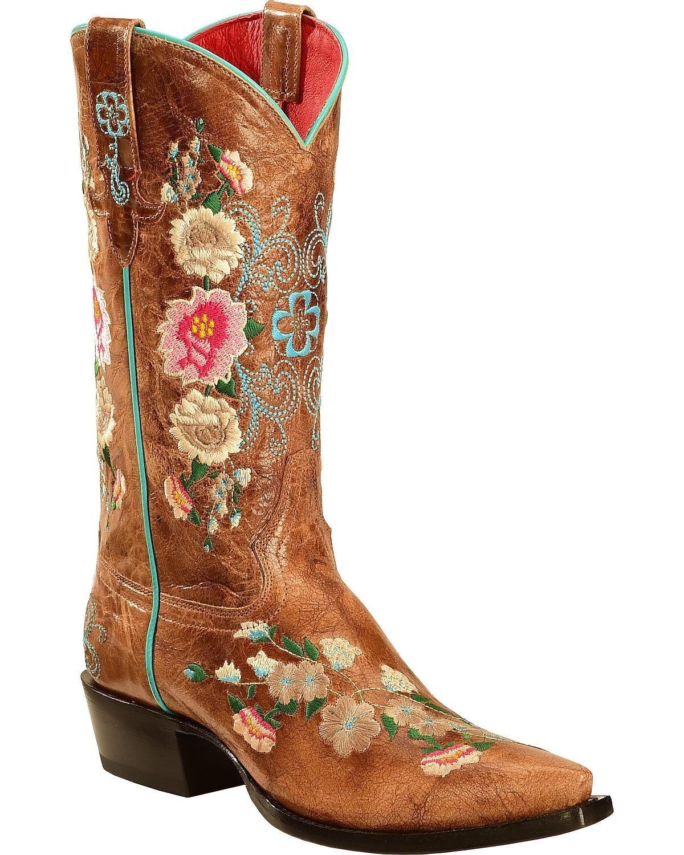 Macie Bean Women's Rose Garden Cowgirl Boot Snip Toe - M8012 B00GDWC0DE 9.5 B(M) US|Honey