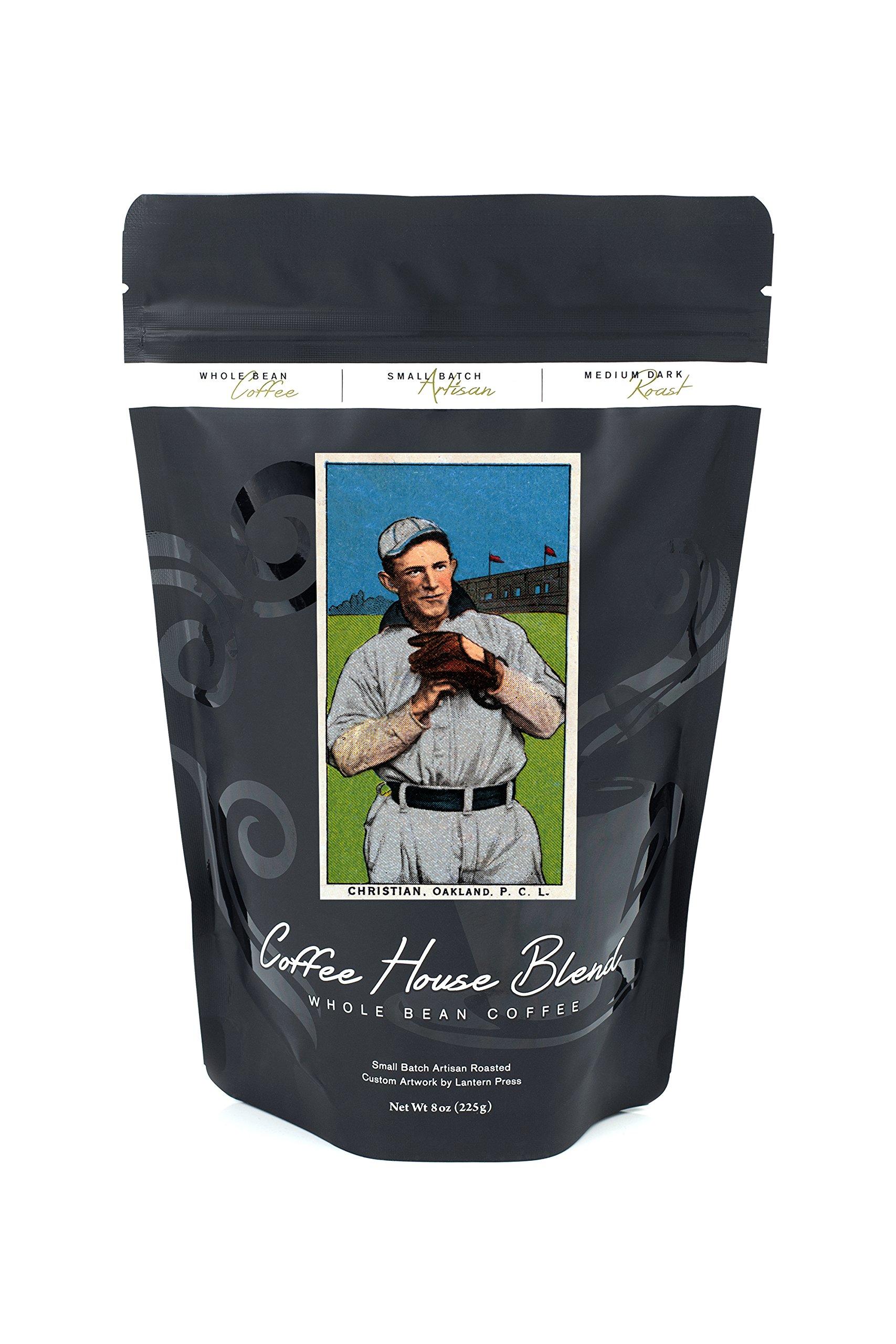 Oakland Pacific Coast League - Christian - Baseball Card (8oz Whole Bean Small Batch Artisan Coffee - Bold & Strong Medium Dark Roast w/ Artwork)