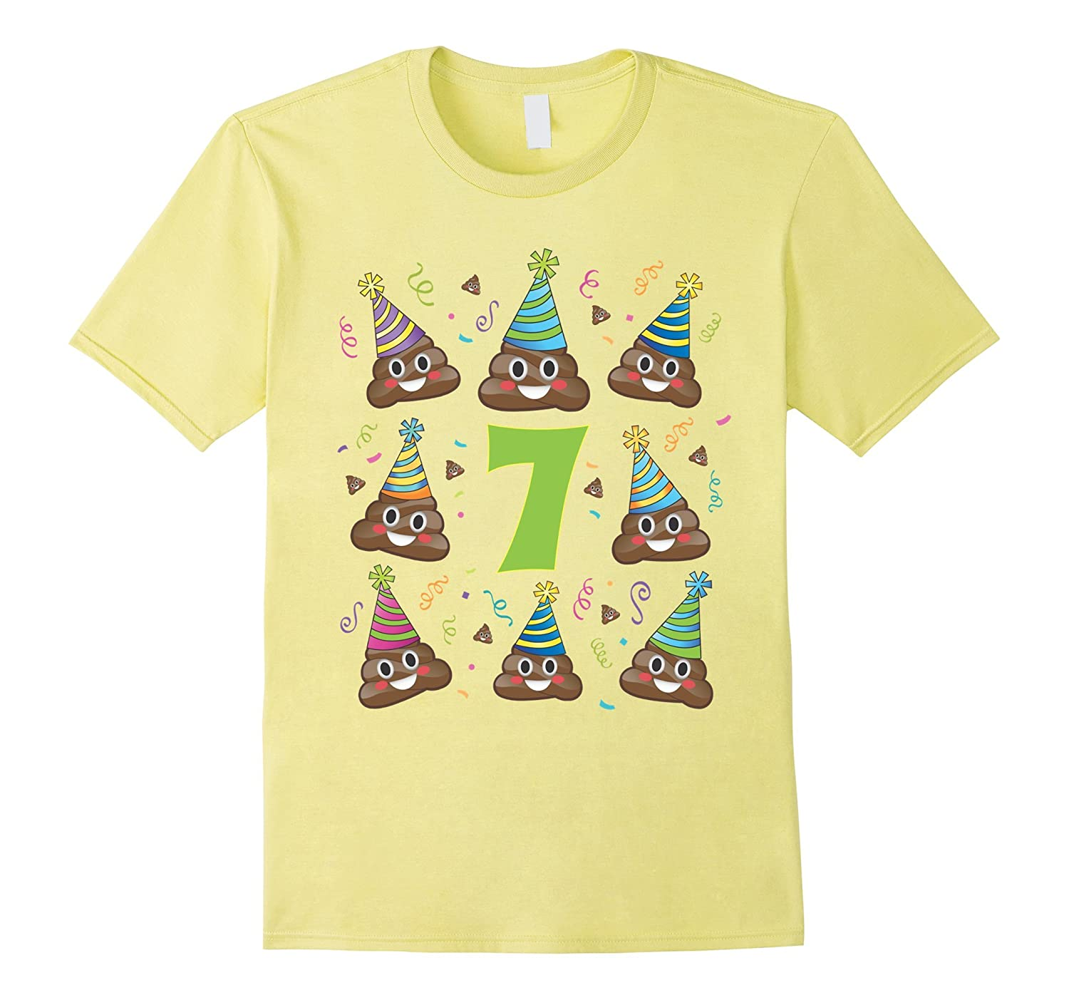 Poop Birthday Shirt Emoji 7 Seven Year Old Girl Boy