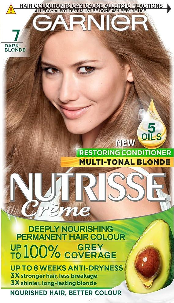 Garnier Nutrisse Rubio Tinte Permanente, hasta 100% cobertura de cabello gris, con 5 aceites acondicionador – 7 rubio oscuro