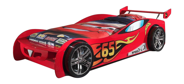 VIPACK SCLM200-R Autobett Le Mans, circa 247 x 68 x 111 cm, Liegefläche 90 x 200 cm, lackiert aufgedruckte Rennwagen-Optik, rot