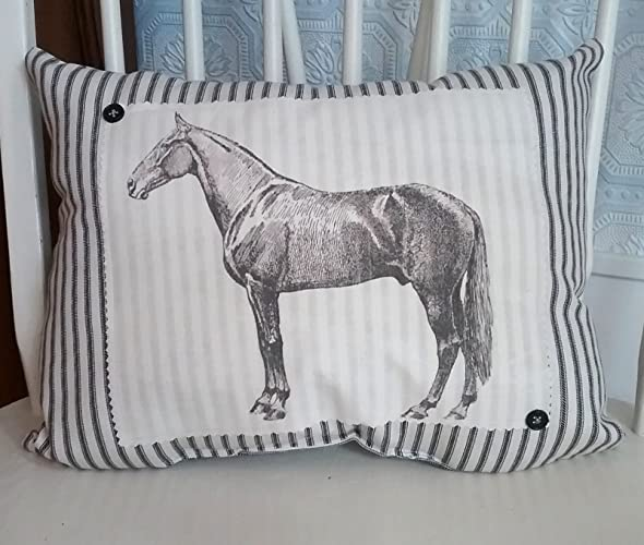 Amazon Com Country Chic Vintage Inspired Ticking Horse Pillow