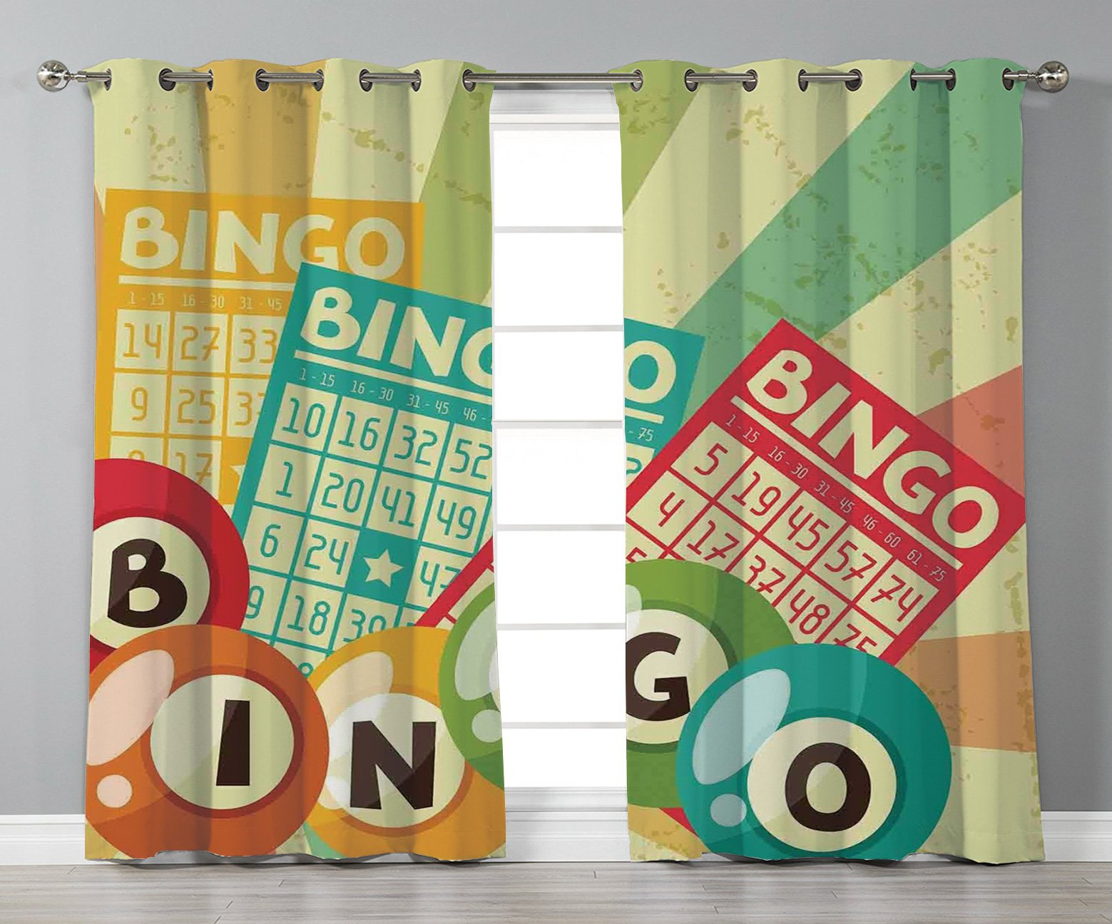 iPrint Satin Grommet Window Curtains,Vintage Decor,Bingo Game with Ball and Cards Pop Art Stylized Lottery Hobby Celebration Theme,Multi,2 Panel Set Window Drapes,for Living Room Bedroom Kitchen Cafe by iPrint