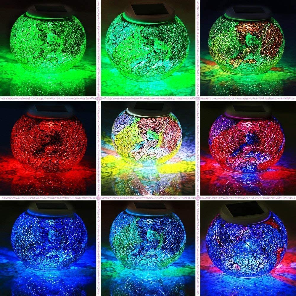 Solar Mosaic Glass Ball Garden Lights,Energy Saving Waterproof Color Changing Mood Night Lights Solar Outdoor Table Lamp for Bedroom Party Garden Patio Yard Decoration Lighting Silver-1
