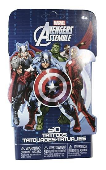 c323a3dfbf99d Amazon.com: 50 Temporary Tattoos, Avengers, 3-Pack: Health ...