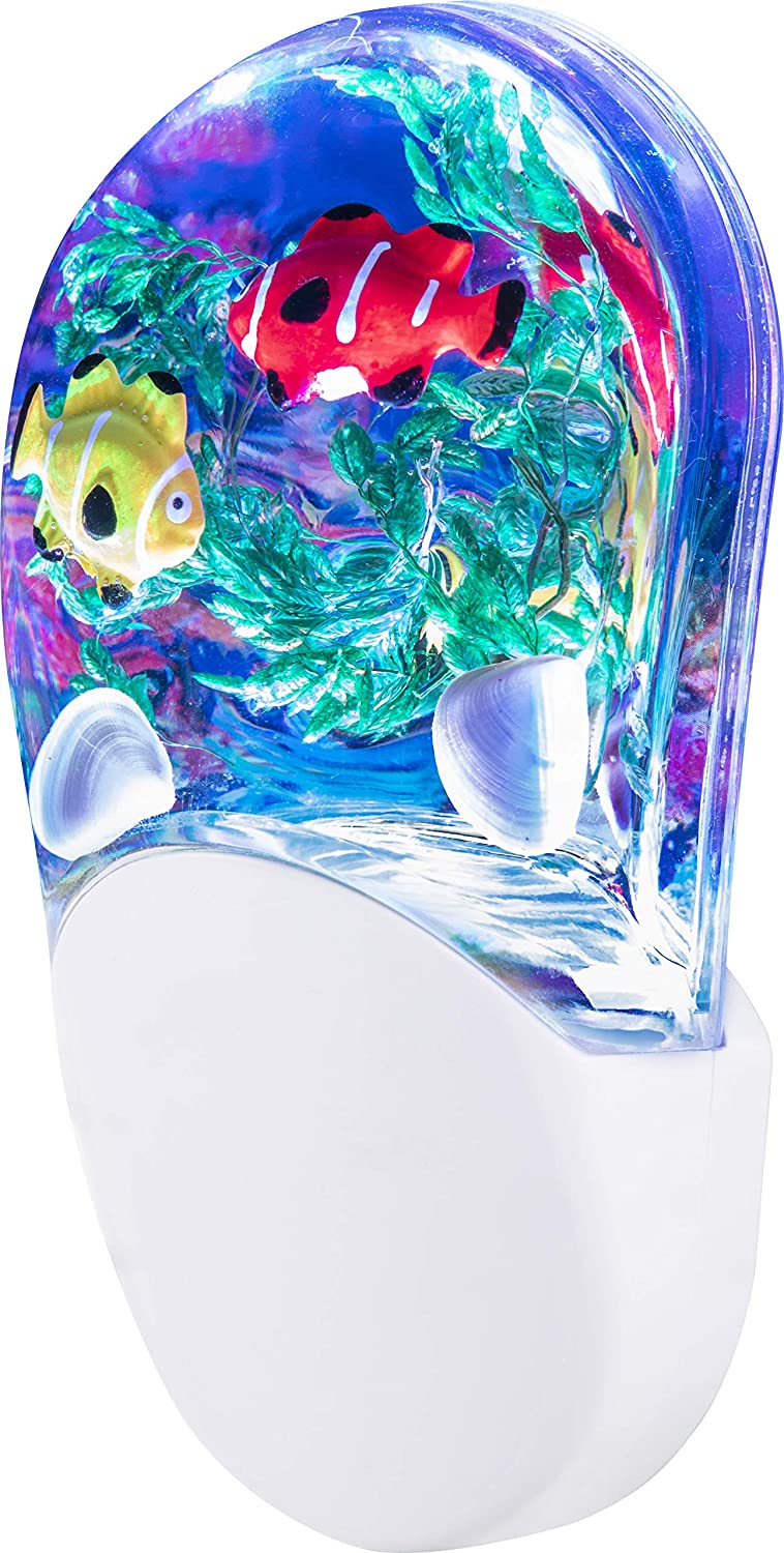 Aqualites 10908 Tropical Fish LED Night Light, Plug-In, Color Changing, Light Sensing, Auto On/Off, Soft Multicolor Glow, Energy Efficient, Features Soothing Oceanic Image of Coral Reef and Clown Fish