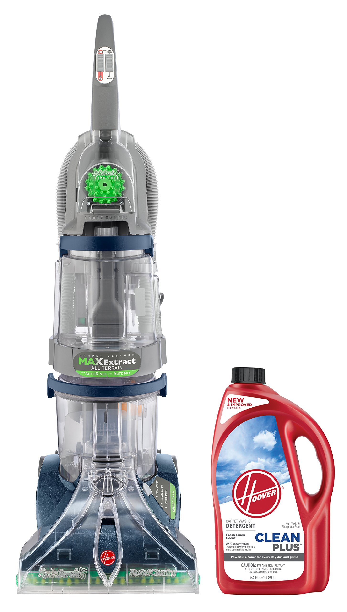 Hoover Max Extract Dual V All Terrain Carpet Washer, F7452900PC and Hoover CLEANPLUS 2X 64oz Carpet Cleaner and Deodorizer, AH30330 Bundle