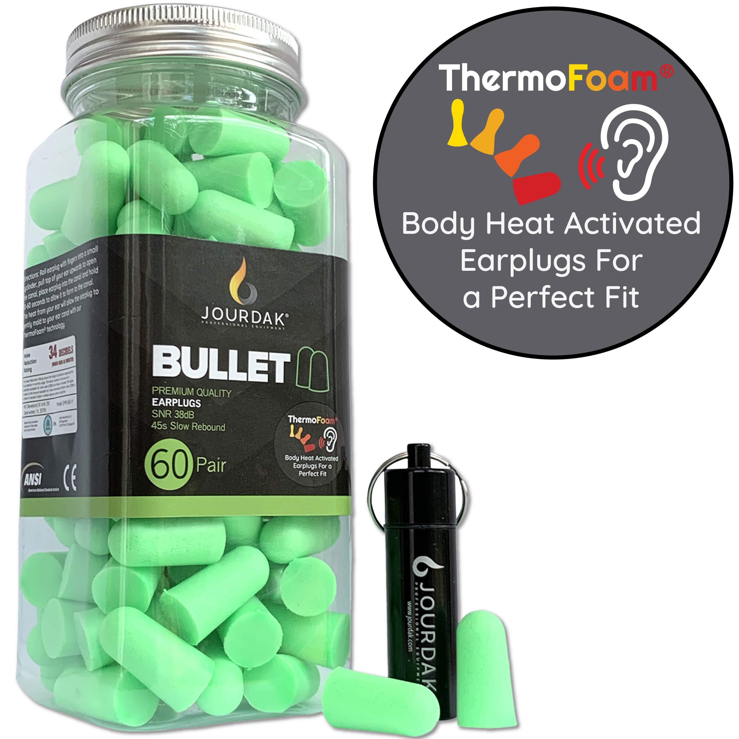 Ear Plugs for Sleeping Block Out Snoring, Premium Thermo Foam Noise Reduction and Cancelling Earplugs for Shooting Range Sleep Loud Events Construction Work Study by Jourdak New NRR/SNR 36db 60Pair by Jourdak