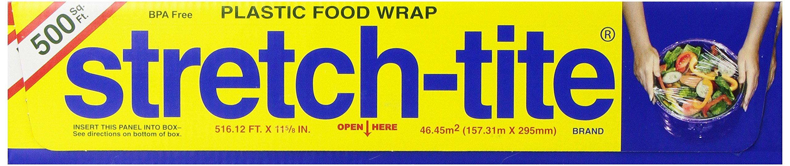 Stretch-tite  Plastic Food Wrap, 500 Sq. Ft., 516.12-Ft.  x 11.5/8-Inch Rolls (Pack of 4) by Polyvinyl Films Inc