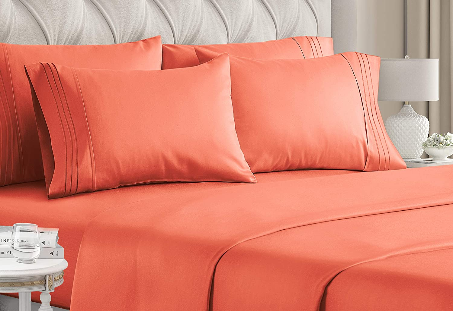 California King Size Sheet Set - 6 Piece Set - Hotel Luxury Bed Sheets - Extra Soft - Deep Pockets - Easy Fit - Breathable & Cooling - Wrinkle Free - Comfy - Coral Bed Sheets - Cali Kings Sheets