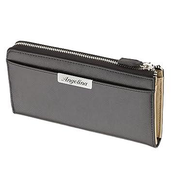 4f131b75fb202 Cadenis Damen Geldbörse Brieftasche Leder mit Laser-Gravur aus Kalbsleder schwarz  Querformat 20 x 10