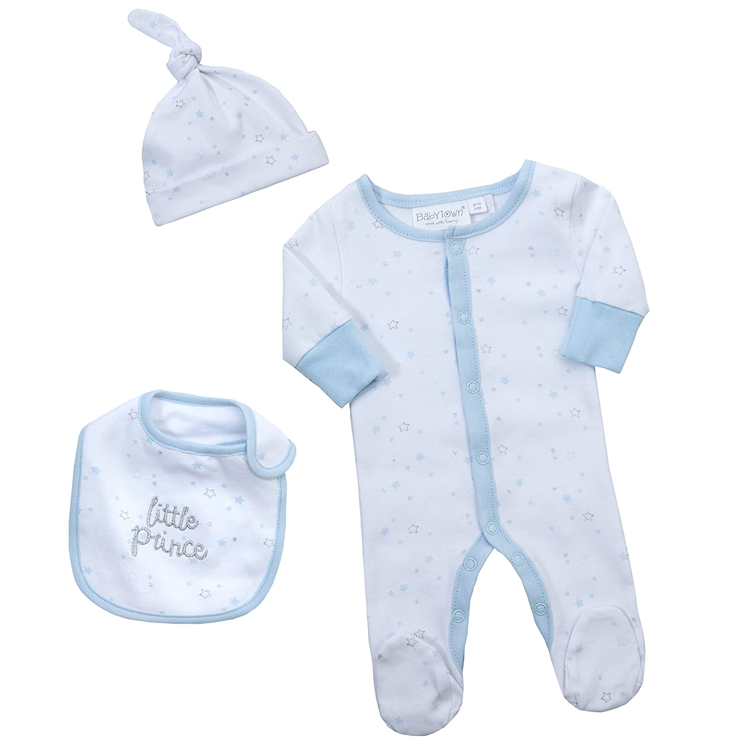 BABYTOWN Boys Prince Sleepsuit Set Including Bib and Hat. Premature Baby