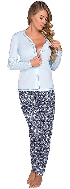 Italian Fashion IF Mujer Pijamas Premamá Hydrangea 0223 (Azul, S)