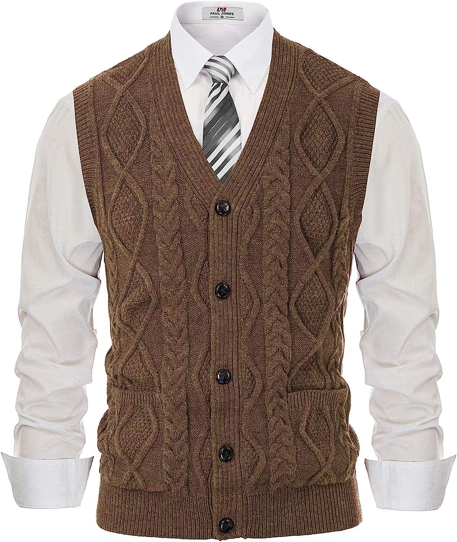Men's Vintage Sweaters, Retro Jumpers 1920s to 1980s PJ PAUL JONES Mens Sweater Vest V-Neck Sleeveless Cable Knitted Cardigan Vest  AT vintagedancer.com